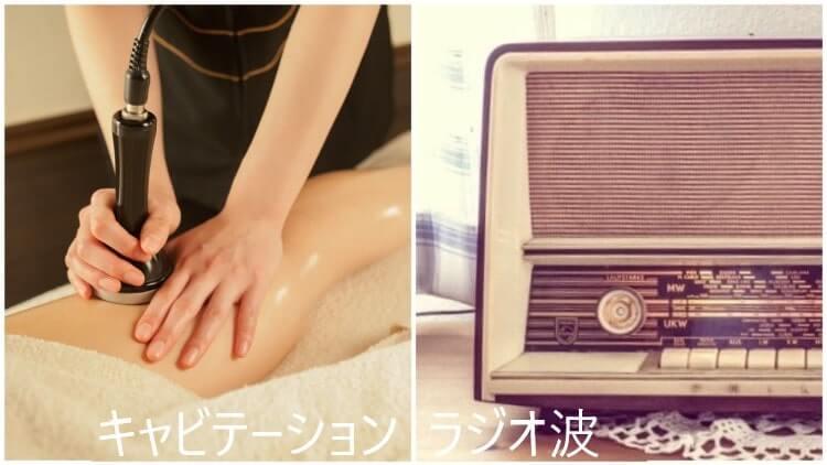 キャビテーションとラジオ波の違いを比較した画像